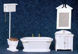 Ouderwetse houten badkamerset, 4 delig _