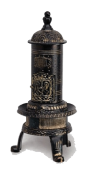 Metalen potkachel, fraai versierd