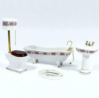 De Luxe badkamerset met roze bloemenrand, 4 delig