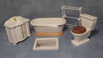 Witte badkamerset, 5 delig