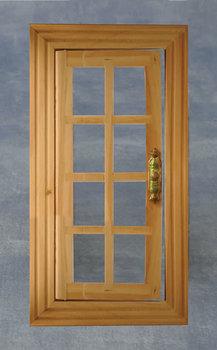 Blank houten deur met omlijsting en 8 ramen