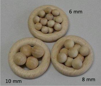 Houten bollen 10 mm, zonder boring