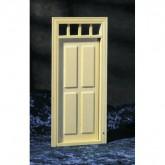 Houten buitendeur met 4 panelen en bovenlicht