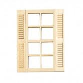 Houten raam met roeden en vaste luiken
