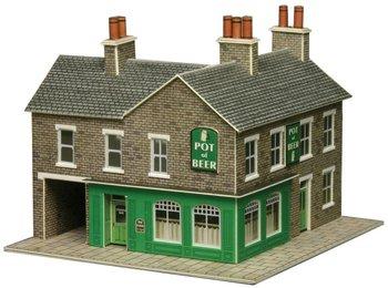 Hoekwinkel en pub in grijze steen