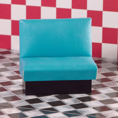 Turquoise bank voor snackbar/café