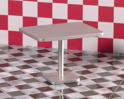 'Zilveren' rechthoekige tafel voor snackbar/café