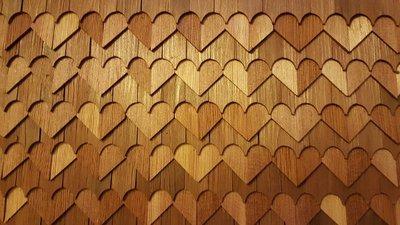 Cederhouten dakpannen, hartjespatroon