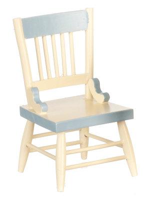 Witte eetkamer stoel met blauwe details