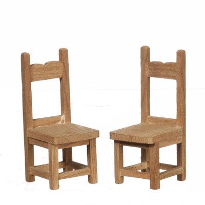 2 eetkamer stoelen van onbehandeld hout