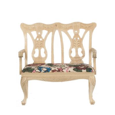 Dubbele stoel van onbehandeld hout