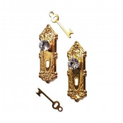 Kristallen deurknop met deurplaat en sleutel