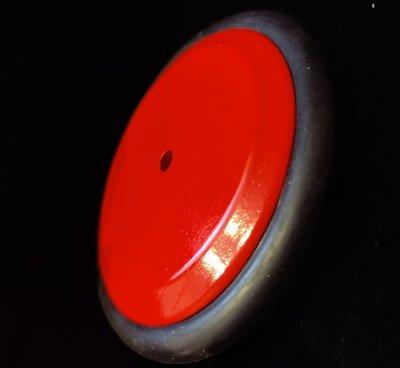 Massief houten rode wiel 123 mm met rubber rand
