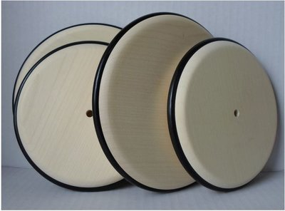Gladde esdoorn massief houten wiel (120 mm) met rubberen rand