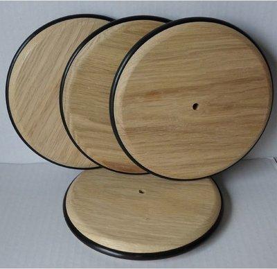 Massief eikenhouten wiel (140mm) met rubberen rand
