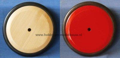 Massief houten wiel 123 mm met rubber rand