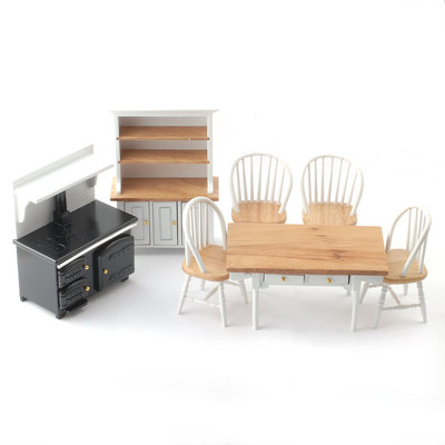 Witte/houten keukenset met eettafel