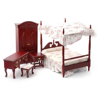Traditionele slaapkamerset met hemelbed, 5 delig
