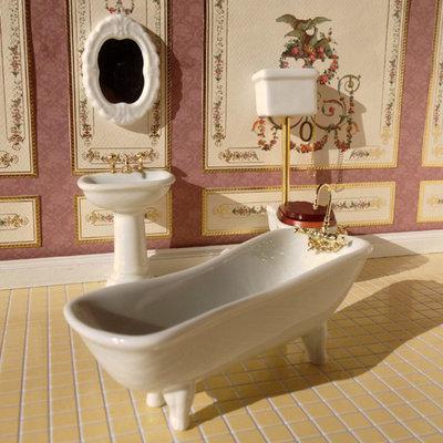 Witte klassieke badkamerset, 4 delig