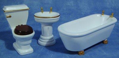 Badkamerset, 3 delig met goudkleurige details