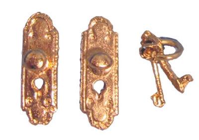 Roodkoperen deurbeslag met sleutel