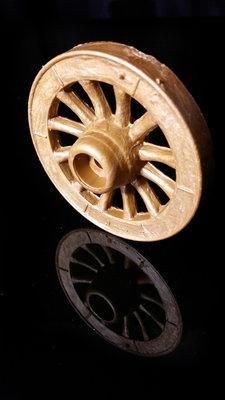 Kunststof karrewielen met een houtstructuur