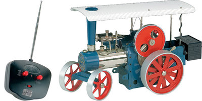 Stoomtractor blauw D405 met draadloze afstandbediening