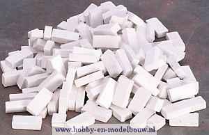 Witte baksteentjes gemengd