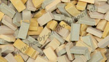 Gemengde beige steen 1:43/50. Afm.: 5,3 x 2,6 x 1,3 mm