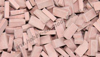 Middelrode steen 1:72. Afm.: 3,6 x 1,8 x 0,9 mm