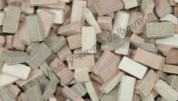 Gemengde terracotta steen 1:72. Afm.: 3,6 x 1,8 x 0,9 mm