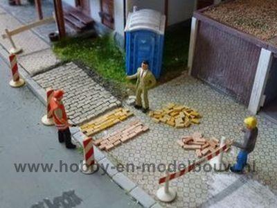 Straat-./stoepstenen, beige, 1:87, Afm: 3,6 x 1,8 x 0,9 mm