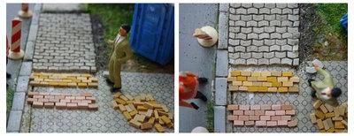 Straat-./stoepstenen, rood, 1:87, afm: 3,6 X 1,8 X 0,9 MM