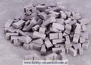 Grijze baksteentjes gemengd