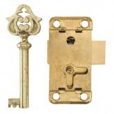 Stalen slot met messing sleutel