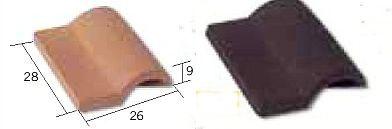 Dakpannen ZWART met 1 boog, afm:28 x26 x9 mm