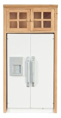 Moderne koelkastkast met bovenkastjes onderdeel van complete keuken T4725