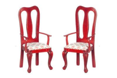 Eetkamer stoelen met armleuning, onderdeel van 6-Delige mahoniehouten eetkamerset 00802