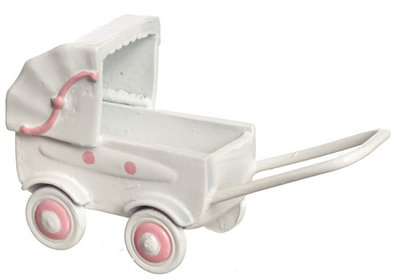 Roze/witte kinderwagen