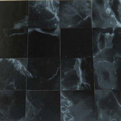 Vinyl tegels 26*26*0.6 mm, kleur zwart/marmerachtig