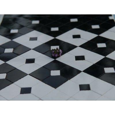 Decoratieve keramische tegels, 19*19*2  mm, zwart/wit