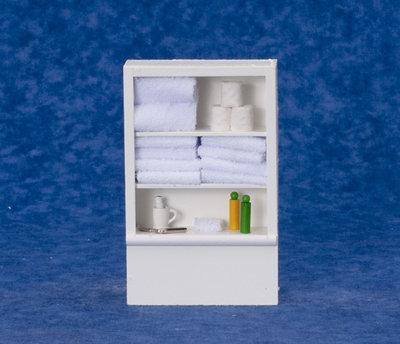 Badkamerkast met gekleurde accessoires