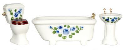 Witte porceleinen badkamerset met bloemen, 3 delig