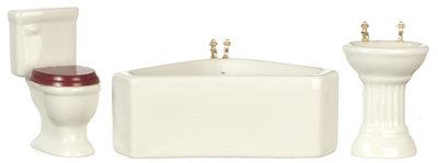 Witte porceleinen badkamerset met hoekbad, 3 delig