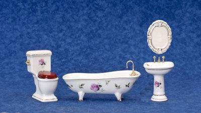 Witte porceleinen badkamerset met roze rozen, 4 delig