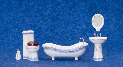 Witte proceleinen badkamerset met blauwe rand, 5 delig