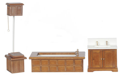 Victoriaanse houten badkamer, 3 delig