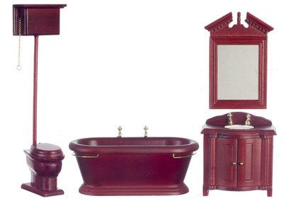 Ouderwetse houten badkamerset, 4 delig