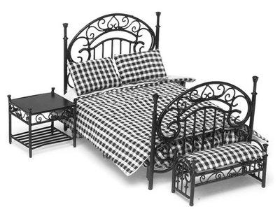 Zwart metalen slaapkamerset, 3 delig