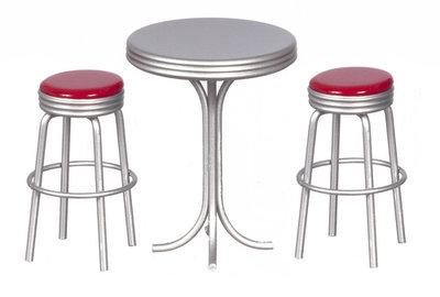 set van 2 barkrukken+kleine tafel